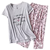 ENJOYNIGHT Women's Sleepwear Tops with Capri Pants Pajama Sets (Medium, Heart Cup)