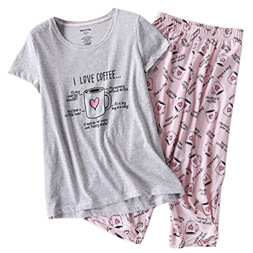ENJOYNIGHT Women's Sleepwear Tops with Capri Pants Pajama Sets (Large, Heart Cup)