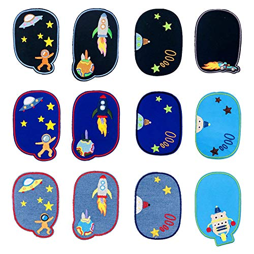 Woohome 12 PCS Iron On Denim Patches Solar System Sewing Knee Repair Patches Jeans Patch Iron on Inside for Clothing Jeans and DIY Repair