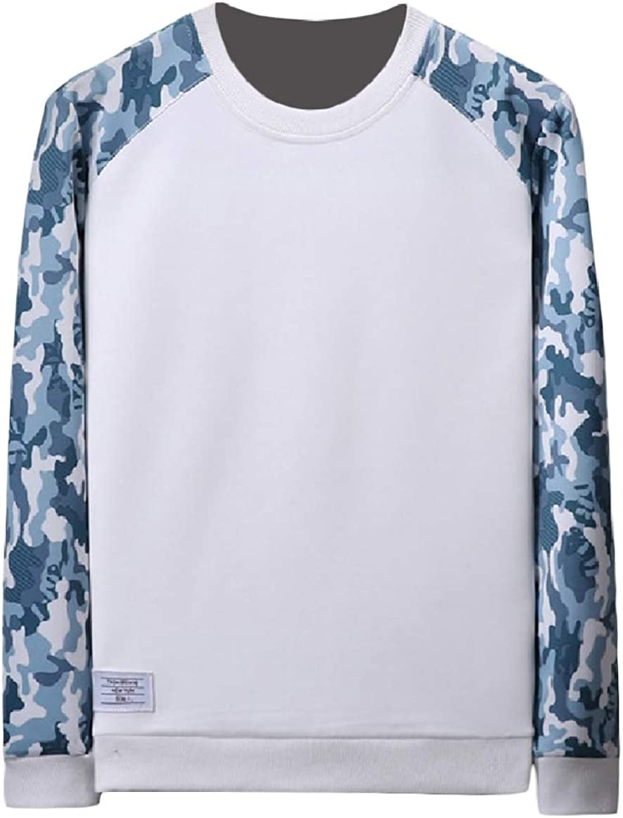 RingBong Mens Relaxed-Fit Long-Sleeved Printed O-Neck Splicing Sweatshirt Top