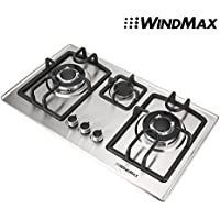Windmax 28 In. Stainless Steel 3 Burner Built-In Stove NG Gas Cooktop Cooker