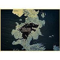 Classic TV Game of Thrones Poster Home Furnishing Wall Stickers Retro Kraft Wallpaper Retro Sticker : D44, 30X21CM