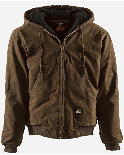 Berne Men's Original Washed Hooded Jacket, Bark, Medium/Regular from Berne