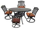 St. Tropez 5-Piece Cast Aluminum Dining Set with 52″ Round Table, 4 Swivel Rockers and Seat Cushions Review