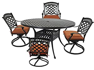 """St. Tropez 5-Piece Cast Aluminum Dining Set with 52"""" Round Table, 4 Swivel Rockers and Seat Cushions"""