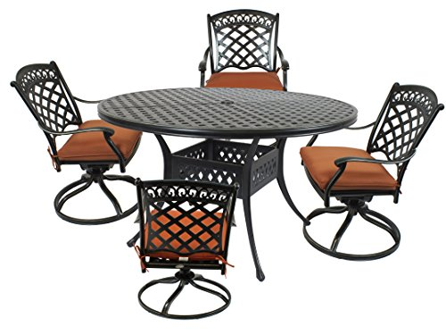 St. Tropez 5-Piece Cast Aluminum Dining Set with 52