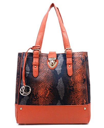 Luxcessories Python Embossed Shoulder Tote Bag w/Cosmetic Bag- ()