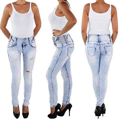 Hochbund Blau Hose Röhre M2118 Röhrenjeans Slim Stretch Jeans Damen Waist Skinny High Hochschnitt Fit