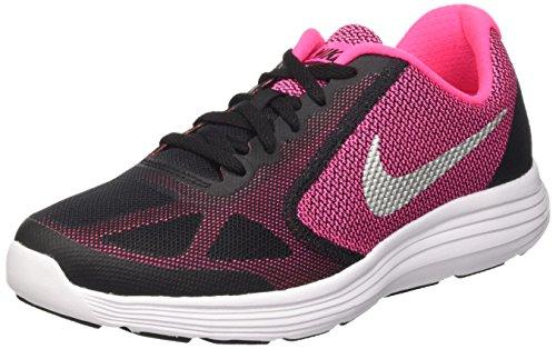 Nike Mädchen Revolution 3 Laufschuhe, Schwarz (Black/Metallic Silver-Hypr Pnk-Wht), 36 EU