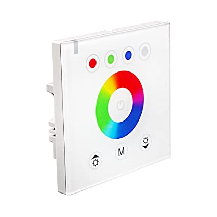 RGBZONE RGB LED Dimmer Wall Switch,Wall- mounted Original Acrylic Touch  Panel Switch for DC 12V-24V LED Strip Lights,White