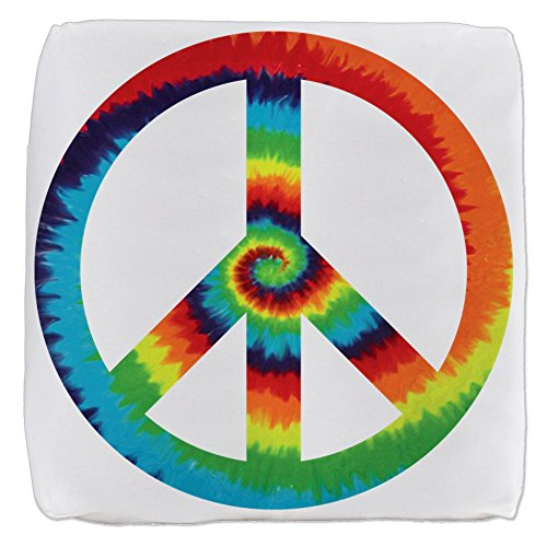 18 Inch 6-Sided Cube Ottoman Tye Dye Peace Symbol by Royal Lion
