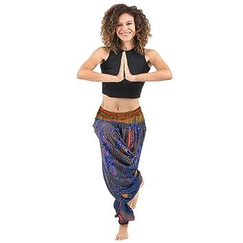 Aladin Pants,Damen Hohe Taille Haremshose Boho Aladdin Jumpsuit Pumphose  Aladinhosen Pluderhose Blumenmuster Weite Bein f41ec1c6ae