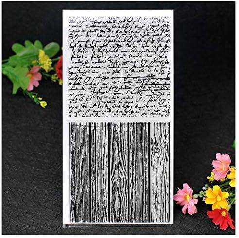 Kwan Crafts per decorare biglietti e scrapbooking fai da te timbri trasparenti con lettere e venature del legno