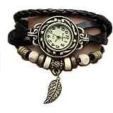 Kshade Noir Feuille Montre - Bracelet cuir - Weave Wrap Around- Quartz Mode Rétro - Montre de femmes de dames + Gratuit Poche Caisse