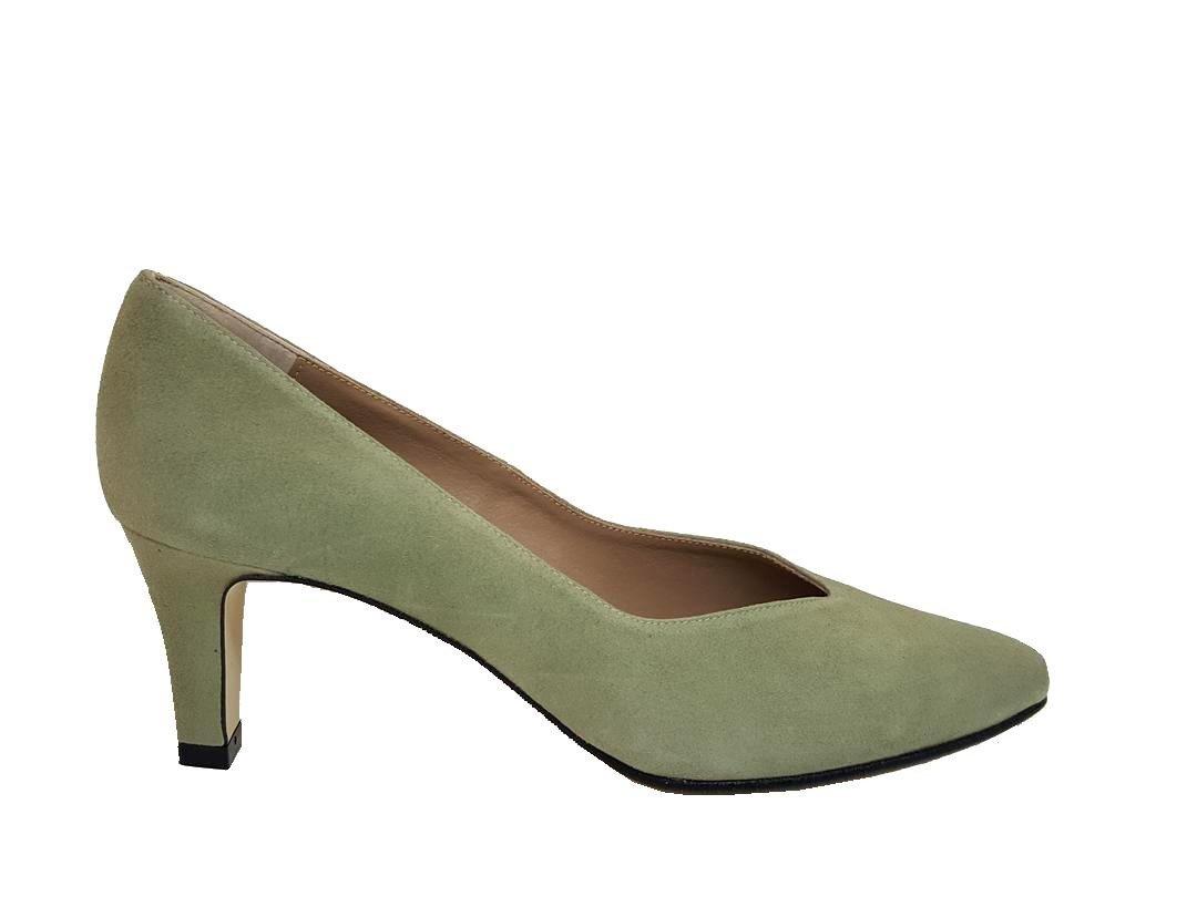 Gennia ISORBO - Zapatos de Piel para Mujer con Tacón 6 cm + Punta Fina Cerrada 41 EU,Piel Ante Verde Claro Pastel