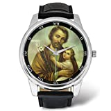 Men's Leather Strap Large Dial Wrist Watch - Jesus Christ God Cross Dove - Catholic Christian Religious Church Gifts
