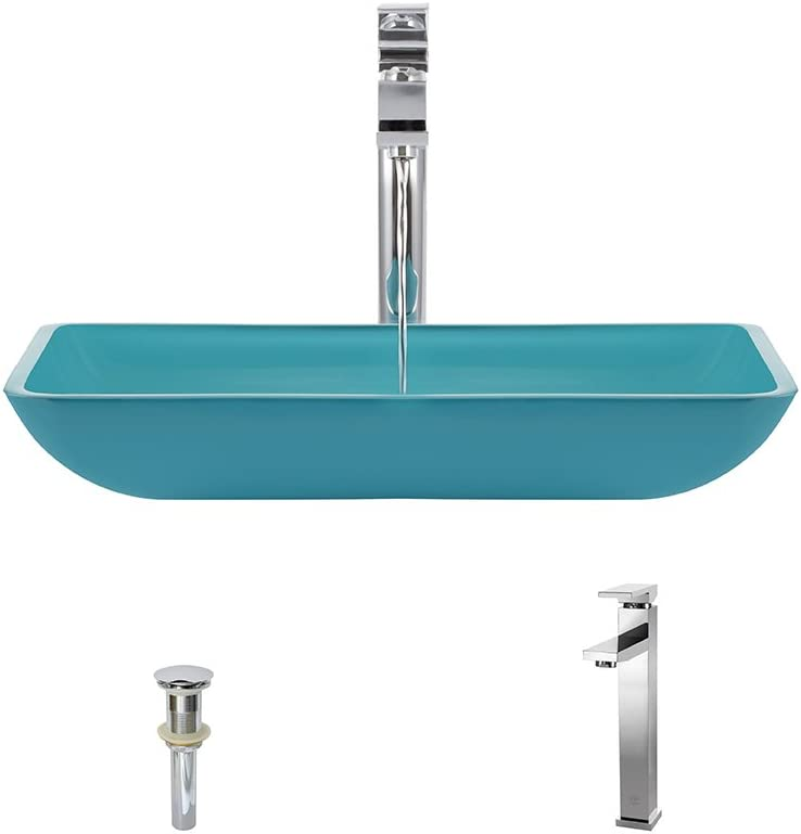 640 Turquoise Chrome Bathroom 721 Vessel Faucet Ensemble Bundle – 3 Items Vessel Sink, Vessel Faucet and Pop-Up Drain