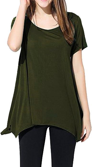 Qingsiy Blusa Mujere Verano Moda Camisetas Suelta Pullover Casual ...