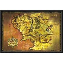Lord of the Rings (Map of Middle Earth) 36x24 Dry Mounted Poster Wood Framed