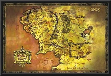 the lord of the rings map of middle earth framed movie poster size