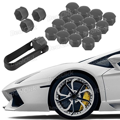Lug Wheel Center Cap (20pcs Grey Wheel Lug Nut Center Cover Cap + Removal Tool for VW Audi Skoda Seat)