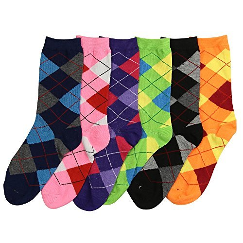 Womens Fun and Colorful Crew Sock 6 Packs-Argyle, One Size
