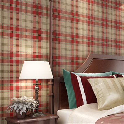HUANGYAHUI Modern American Pure Paper Wallpaper, Bedroom, Living Room, Background Clothing Shop, Red, Green, Blue Striped Plaid Wallpaper,Dull Red (Wallpaper Red Striped)