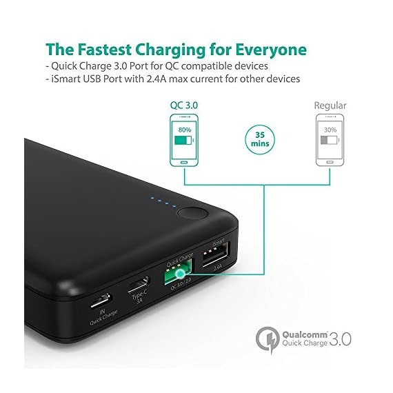 RAVPower USB C Battery Pack 20100 Portable Charger with QC 3.0 Qualcomm Quick Charge 3.0, 20100mAh Input & Output Type C Power Bank for Nintendo Switch, iPhone, 12-inch MacBook, Galaxy and More 4 Choose the RAVPower Treatment: Join millions of users worldwide that rely on our leading technology for their daily charging needs Quick Charge 3.0 Input & Output: 75% faster technology, charge compatible smartphones from 0 to 80% in only 60 minutes; QC3.0 input allows for speedy recharging of the battery charger Type-C Input & Output: The airplane-friendly power bank recharges up to 5V/3A; compatible with Nintendo Switch, 12-inch MacBook, Google Pixel 2, Samsung Galaxy S8 / S8 Plus, Huawei Mate 10 Pro