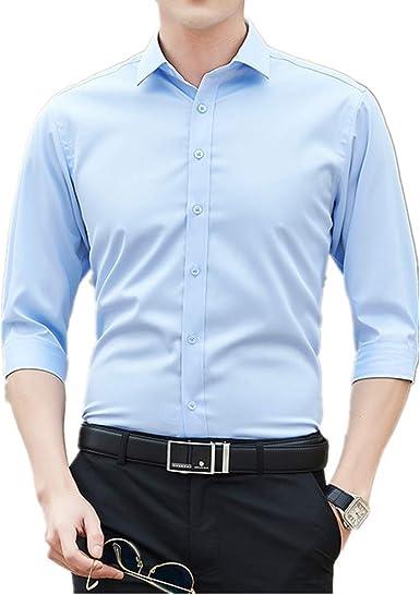 Camiseta de manga larga para hombre, color blanco, casual, para negocios, verano, guapo, profesional: Amazon.es: Ropa y accesorios