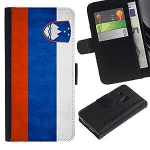 eJoy---La carpeta del tirón la caja de cuero de alta calidad de la PU Caso protector - Samsung Galaxy S3 MINI 8190 - --Slovenia Grunge Flag