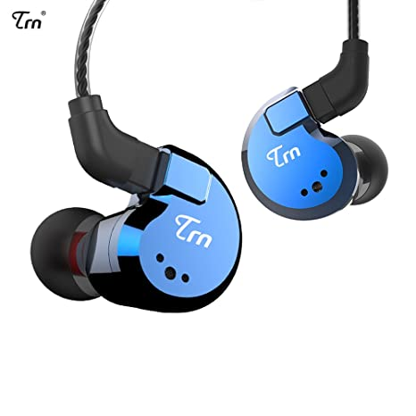 Review TRN V80 2BA+2DD Quad Driver Hybrid HIFI Metal In Ear Earphone IEM With 2 Pin Detachable Cable, 1.25m (Without Mic, Blue)