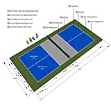 26ft x 52ft Outdoor Pickleball Court Flooring Lines and Edges Included - Gray/Blue/Green