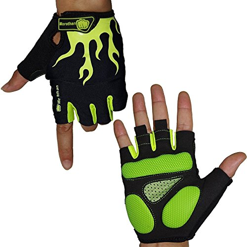 Morethan M1707 Cycling Gloves for Men Half Finger Gel, Used as Road Mountain Bike Gloves, Workout Gloves, Exercise Gloves, Fitness Gloves, Biking Gloves for Men Women Boys Girls (Green and Black, M)
