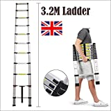 2018 Latest Design DIY Multi-Purpose Aluminium Telescopic Ladder Extension Extend - Portable Foldable (3.2M)