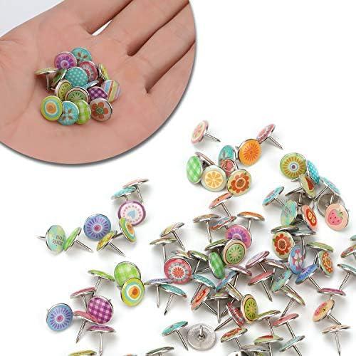 Stile B MWOOT 100 pezzi Puntine da Disegno,Moda Colorate Puntine per Lavagna Sughero Foto Muro Mappe Lavagne e Mappa