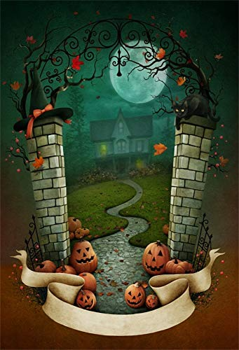 (LFEEY 5x7ft Kids Children Halloween Photography Background Fairyland Pumpkin Ghost Face Full Moon Night Mysterious Castle Photo Backdrop Birthday Party Decor Wallpaper Photo Booth)