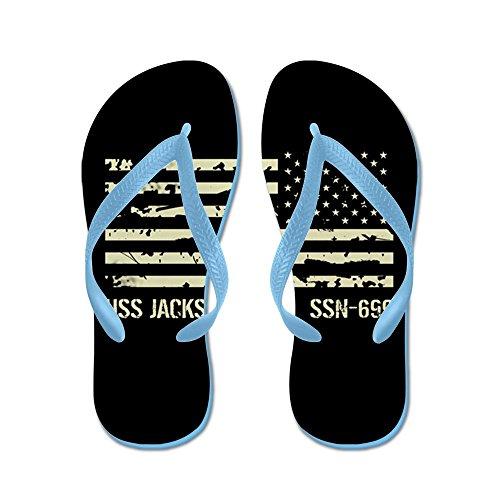Cafepress Uss Jacksonville - Flip Flops, Roliga Rem Sandaler, Strand Sandaler Caribbean Blue