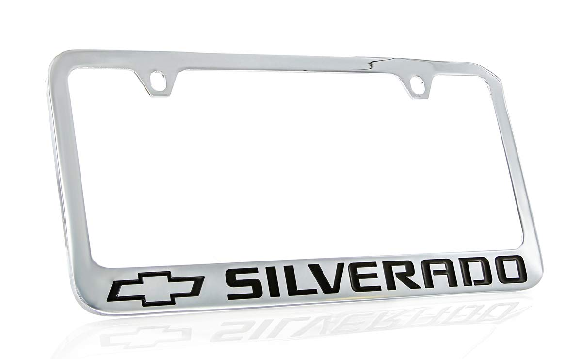 Chevrolet Silverado Chrome Plated Metal License Plate Frame Holder Baronlfi
