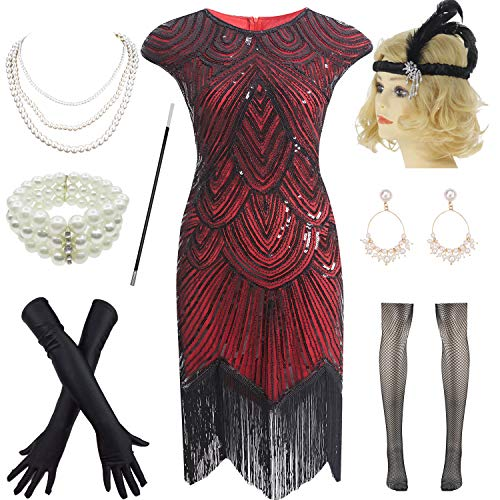 1920s Vintage Flapper Beaded Gatsby Party Dress w 20s Accessories Set (XXL, Black-Red)