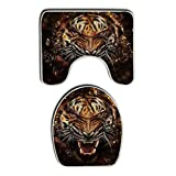 Summer Moon Fire Broken mirror Fierce tiger Non Slip 2 Piece Bathroom Mat Pedestal Rug Bath Mat Customized Artwork Print