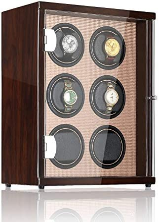 CHIYODA Automatic Watch Winder for six Watches, 6 Quiet Mabuchi Motors, LCD Display & Control Screen