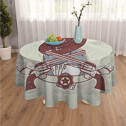 SATVSHOP Round Polyester Tablecloth-60Inch-Indoor Outdoor Camping Picnic Circle Table Cloth.W Tern Insignia and Banner with Two Guns Hat Pistols Poker Ace Cowboy Texas Ch nut Brown Slate Blue.