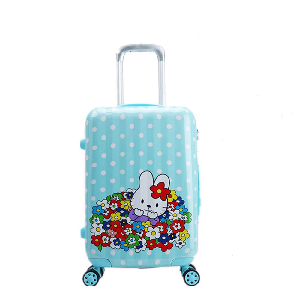 20'' Children Rolling Luggage Carry on Cases Kids Rolling Suitcase with Wheels and Zipper Unisex Toddler Lockable Boarding Case for Boys and Girls (Blue rabbit, 20in)