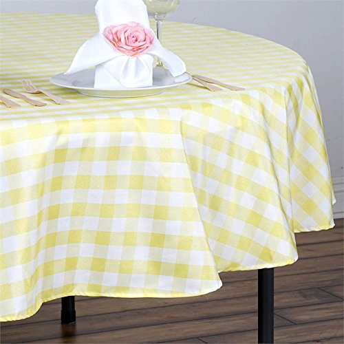 BalsaCircle 90 inch Gingham Checkered Polyester Tablecloth - Yellow and White