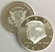 2017 President Donald Trump Inaugural Silver EAGLE Commemorative Novelty Coin 38mm. 45th President of the Unit