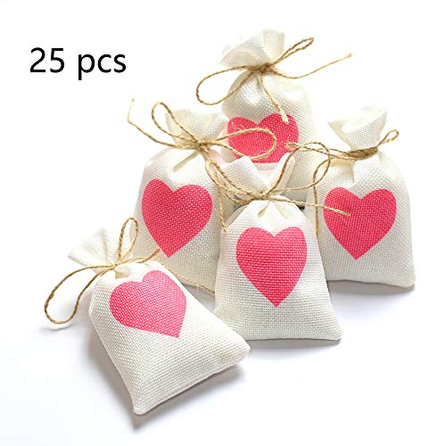 - ToBeIT Burlap Gift Bags with Drawstring for Wedding Party Favors Craft Jute Sacks Project Jewelry Pouches (White 25(Rot Heart))