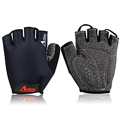 Aiduy Cycling Gloves Mountain Road Bike Gloves Anti-slip Shock-absorbing Breathable Half Finger Gloves for Men and Women