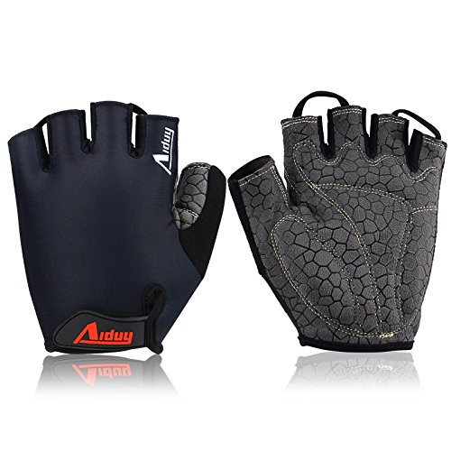 Aiduy Cycling Gloves Mountain Bike Gloves Road Racing Bicycle Gloves Light Foam Pad Riding Gloves Half Finger Biking Gloves for Men/Women (Black, Large)