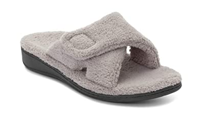 48687cb61a Vionic Women's Indulge Relax Slipper - Ladies Adjustable Slippers with  Concealed Orthotic Arch Support Light Grey
