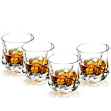 Lovinpro Whisky Glasses Old Fashioned Scotch Glass set of 4 100% Lead Free Whiskey Glass 8 oz ,Unique, Elegant, Dishwasher Safe,Glass Liquor or Bourbon Tumblers Gift for men